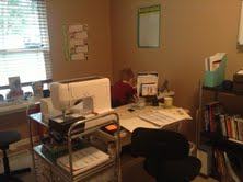 Pictured is my desk, William's desk/area, and my sewing shelf.