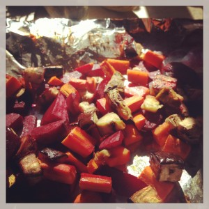 Roasted Carrots Beets and Eggplant